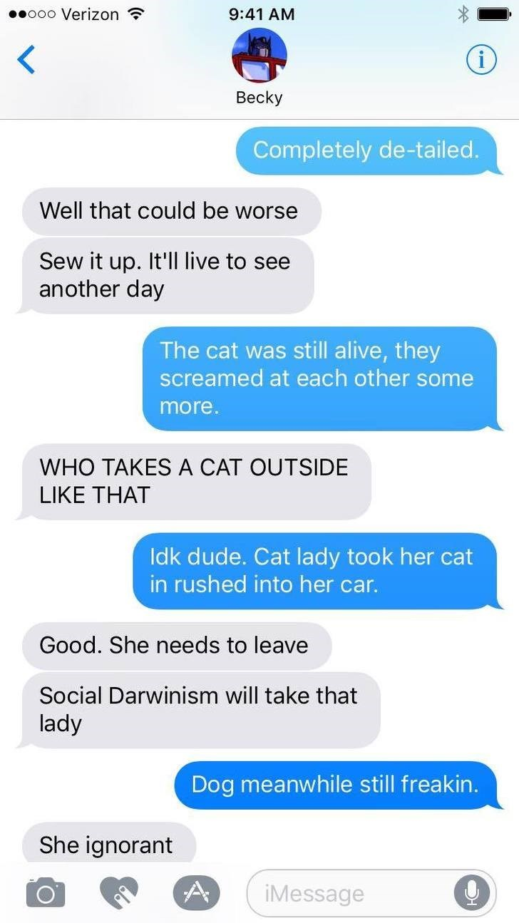 Text - ooo Verizon 9:41 AM Becky Completely de-tailed. Well that could be worse Sew it up. It'll live to see another day The cat was still alive, they screamed at each other some more. WHO TAKES A CAT OUTSIDE LIKE THΑΤ Idk dude. Cat lady took her cat in rushed into her car. Good. She needs to leave Social Darwinism will take that lady Dog meanwhile still freakin. She ignorant A iMessage