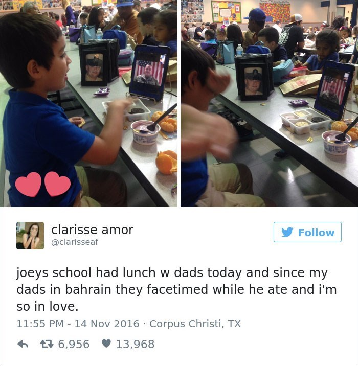 Selfie - clarisse amor Follow @clarisseaf joeys school had lunch w dads today and since my dads in bahrain they facetimed while he ate and i'm so in love. 11:55 PM 14 Nov 2016 Corpus Christi, TX 6,956 13,968
