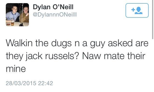 Text - Dylan O'Neill @DylannnONeill Walkin the dugs n a guy asked are they jack russels? Naw mate their mine 28/03/2015 22:42