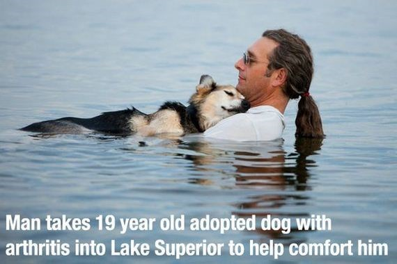 Facial expression - Man takes 19 year old adopted dog with arthritis into Lake Superior to help comfort him