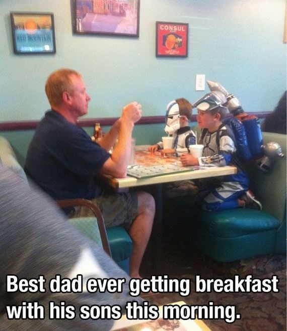 Fun - CONSUL Best dad ever getting breakfast with his sons this morning.