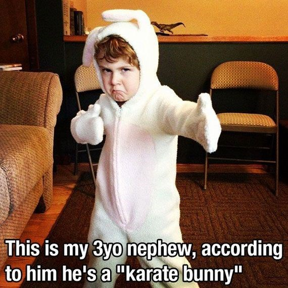 "Cool - This is my 3yo nephew, according to him he's a ""karate bunny"""