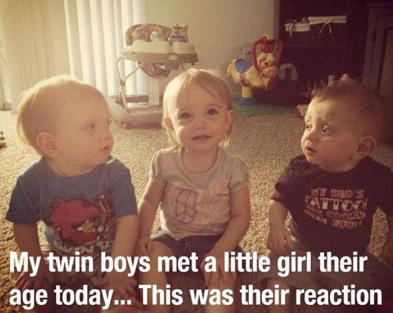 Child - ATTOO My twin boys met a little girl their age today... This was their reaction