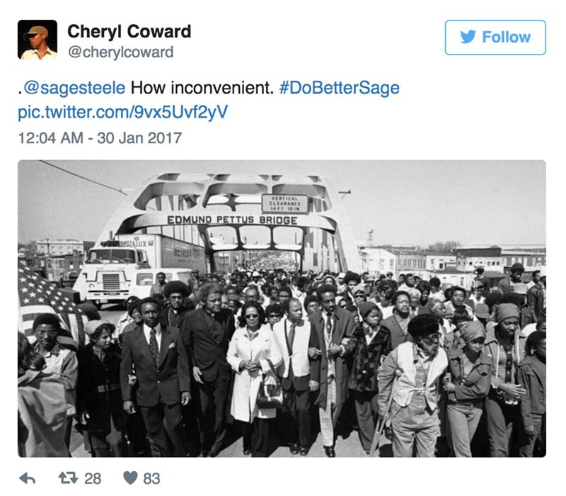 Text - Cheryl Coward @cherylcoward Follow .@sagesteele How inconvenient. #DoBetterSage pic.twitter.com/9vx5 Uvf2yV 12:04 AM 30 Jan 2017 VERTICAL CLEARANCE 14FT 10 IN EDMUND PETTUS BRIDGE ALUX 28 83