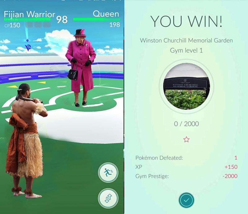 Golf - Fijian Warrior 98 Queen YOU WIN! 198 CP150 Winston Churchill Memorial Garden Gym level 1 WINSTON CHURCHIL MEMORIAL GARDENS 0/2000 Pokémon Defeated: 1 +150 ХР Gym Prestige: -2000