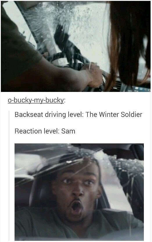 Text - o-bucky-my-bucky Backseat driving level: The Winter Soldier Reaction level: Sam