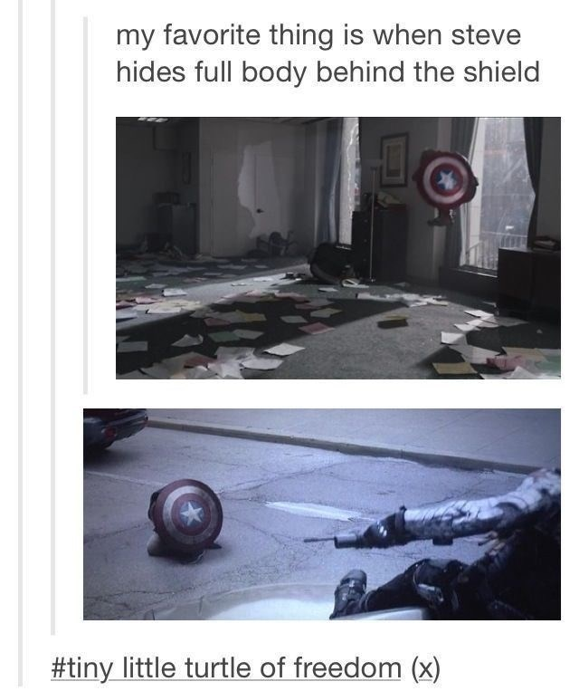 Technology - my favorite thing is when steve hides full body behind the shield #tiny little turtle of freedom (x)