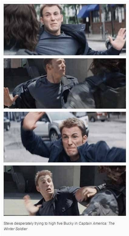 Selfie - Steve desperately trying to high five Bucky in Captain America: The Winter Soldier