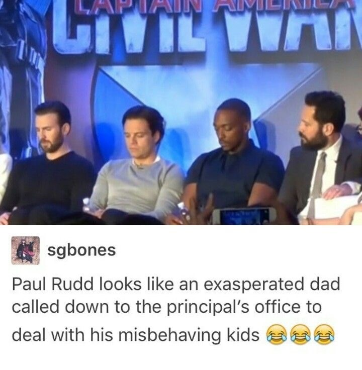 Font - ILVWA sgbones Paul Rudd looks like an exasperated dad called down to the principal's office to deal with his misbehaving kids