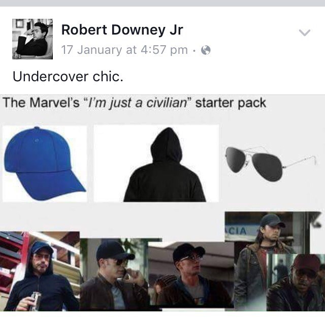 """Cap - Robert Downey Jr 17 January at 4:57 pm Undercover chic. The Marvel's """"I'm just a civilian"""" starter pack CIA"""