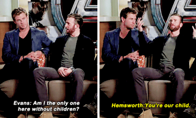 Gentleman - Evans: Am I the only one here without children? Hemsworth:You're our child.
