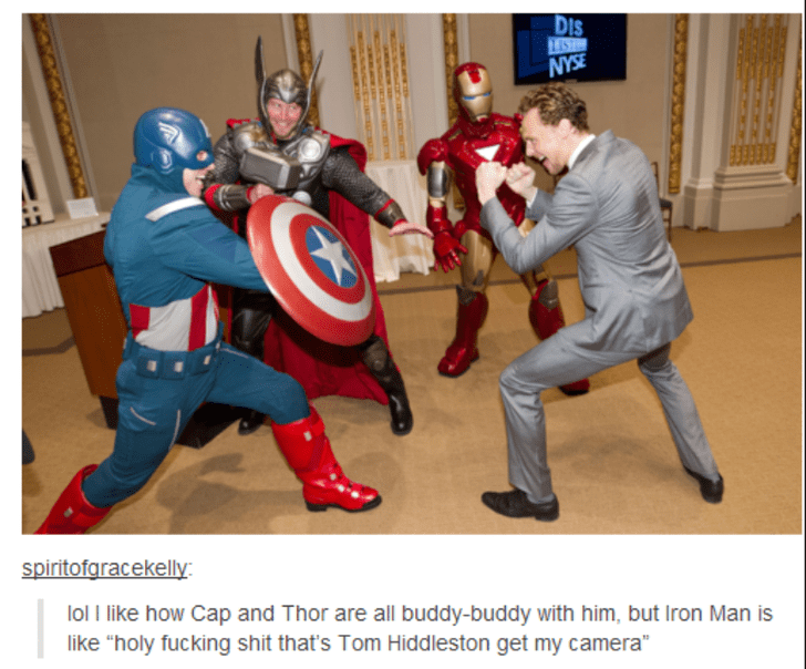 """Captain america - DIs BAN spiritofaracekelly lol I like how Cap and Thor are all buddy-buddy with him, but Iron Man is like """"holy fucking shit that's Tom Hiddleston get my camera"""""""