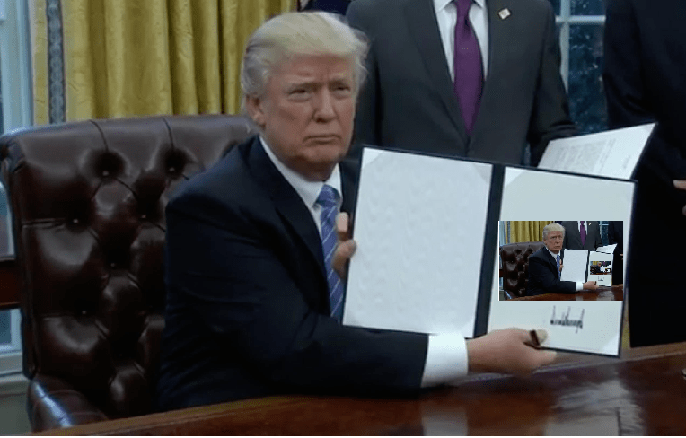 Trump incursion meme of executive order with a picture of trump signing and executive order inside of it