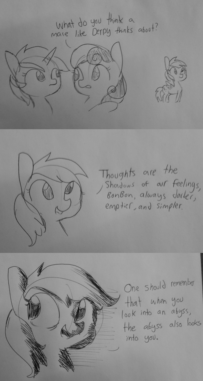 derpy hooves,nietzsche,lyra heartstrings,comic,bon bon