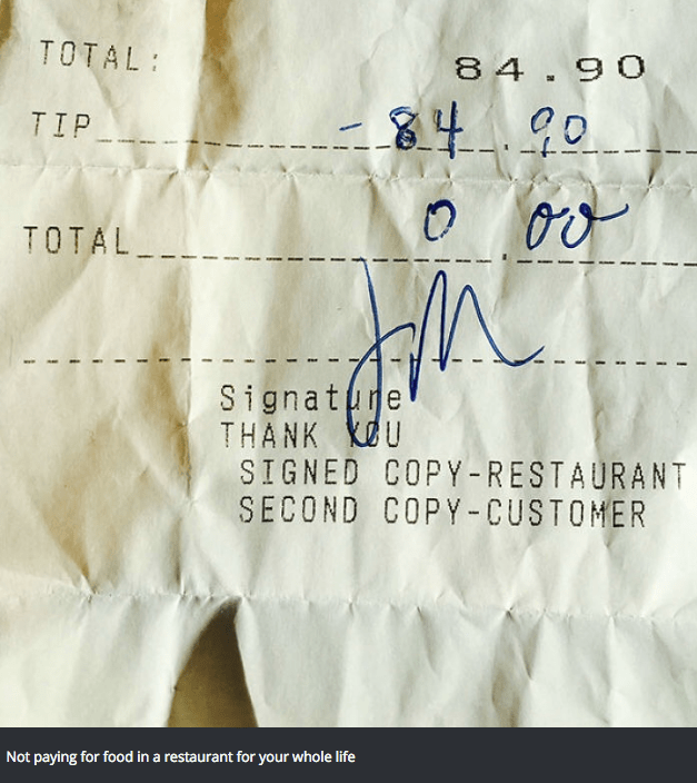 Text - TOTAL 84.90 TIP TOTAL Signatre THANK U SIGNED COPY-RESTAURANT SECOND COPY-CUSTOMER Not paying for food in a restaurant for your whole life