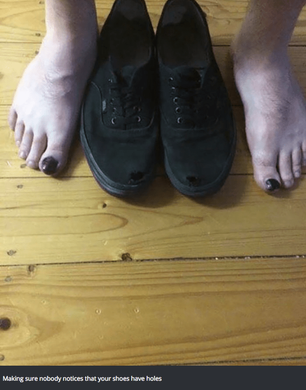 Footwear - Making sure nobody notices that your shoes have holes