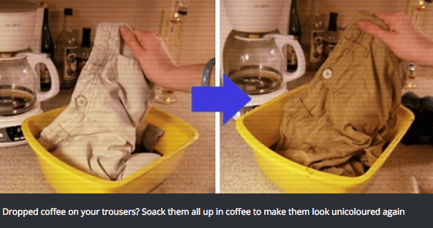 Yellow - Dropped coffee on your trousers? Soack them all up in coffee to make them look unicoloured again