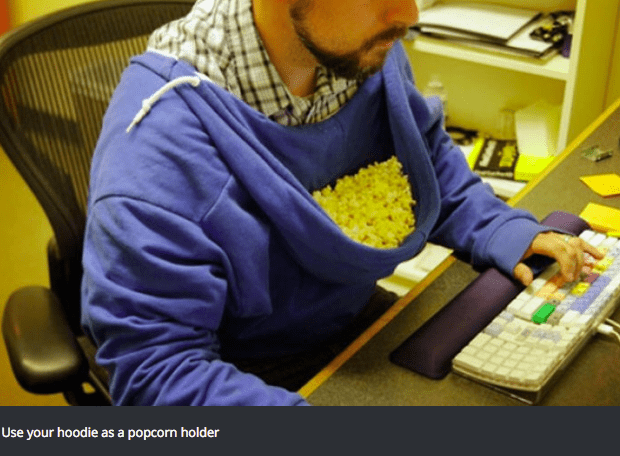 Yellow - Use your hoodie as a popcorn holder