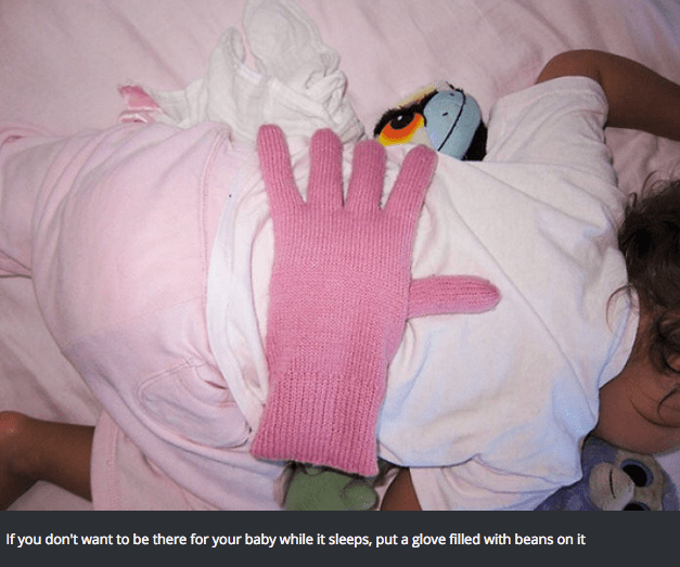 Pink - If you don't want to be there for your baby while it sleeps, put a glove filled with beans on it