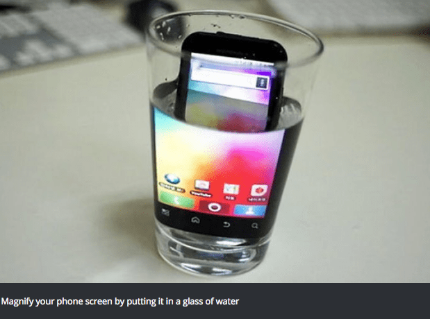 Mobile phone - Magnify your phone screen by putting it in a glass of water