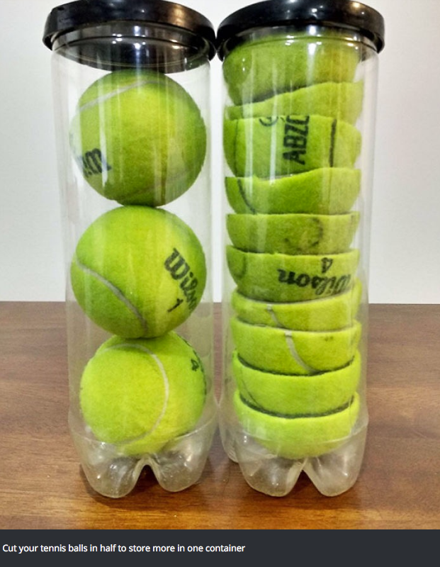 Tennis ball - Cut your tennis balls in half to store more in one container Wi