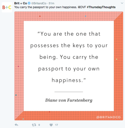 "Text - BritCo You carry the passport to your own happiness. @DVF #ThursdayThoughts Britand Co 51m B+C ""You are the one that possesses the keys to your being. You carry the passport to your own happiness."" Diane von Furstenberg O0000O00 @BRITANDCO )OO00OOOOO 17 OO0 OO0 OOO OOO OO0 SOOO OOOL OOO OO OOO"