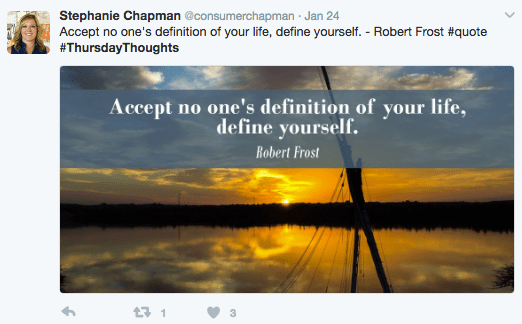 Nature - Stephanie Chapman @consumerchapman Jan 24 Accept no one's definition of your life, define yourself. - Robert Frost #quote #ThursdayThoughts Accept no one's definition of your life, define yourself. Robert Frost t1