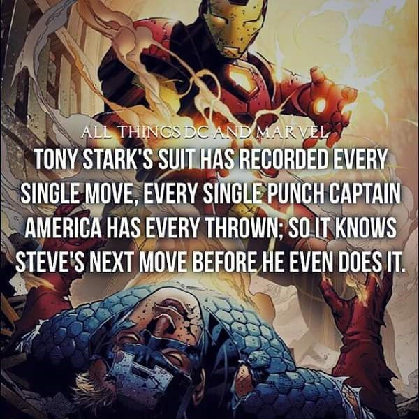 Fictional character - ALL THINCS DC AND MARVÈL TONY STARK'S SUIT HAS RECORDED EVERY SINGLE MOVE, EVERY SINGLEPUNCH CAPTAIN AMERICA HAS EVERY THROWN: SO IT KNOWS STEVE'S NEXT MOVE BEFORE HE EVEN DOESIT