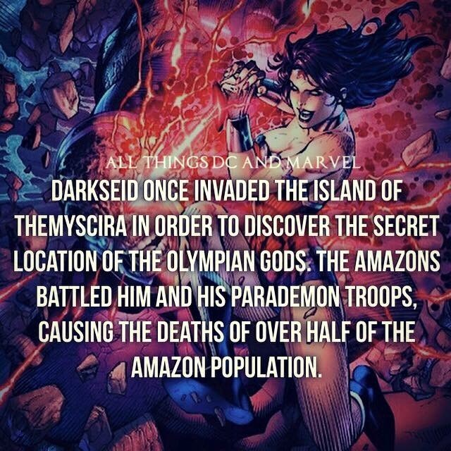 Text - ALL THINGS DC AND MARVEL DARKSEID ONCE INVADED THEISLAND OF THEMYSCIRA IN ORDER TO DISCOVER THE SECRET LOCATION OF THE OLYMPIAN GODS THE AMAZONS BATTLED HIM AND HIS PARADEMON TRO0PS CAUSING THE DEATHS OF OVER HALF OF THE AMAZON POPULATION