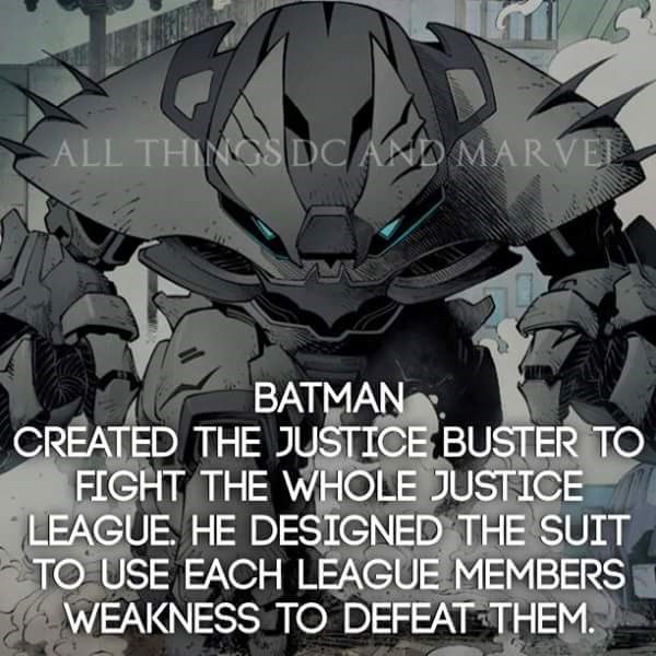 Transformers - ALL THINOSDC AND MARVEA BATMAN CREATED THE JUSTICE BUSTER TO FIGHT THE WHOLE JUSTICE LEAGUE HE DESIGNED THE SUIT TO USE EACH LEAGUE MEMBERS WEAKNESS TO DEFEAT THEM.