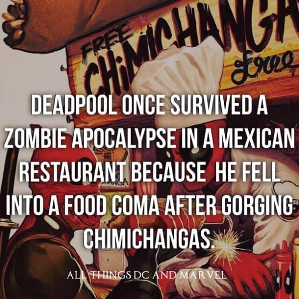 Font - FREE DEADPOOL ONCE SURVIVED A ZOMBIE APOCALYPSE IN A MEXICAN RESTAURANT BECAUSE HE FELL INTO A FOOD COMA AFTER GORGING CHIMICHANGAS ALL THINGS DC AND MARVEL
