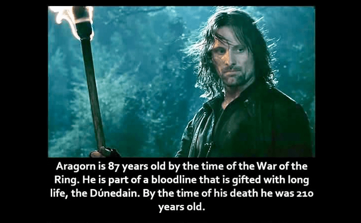 Movie - Aragorn is 87 years old by the time of the War of the Ring. He is part of a bloodline that is gifted with long life, the Dúnedain. By the time of his death he was 210 years old