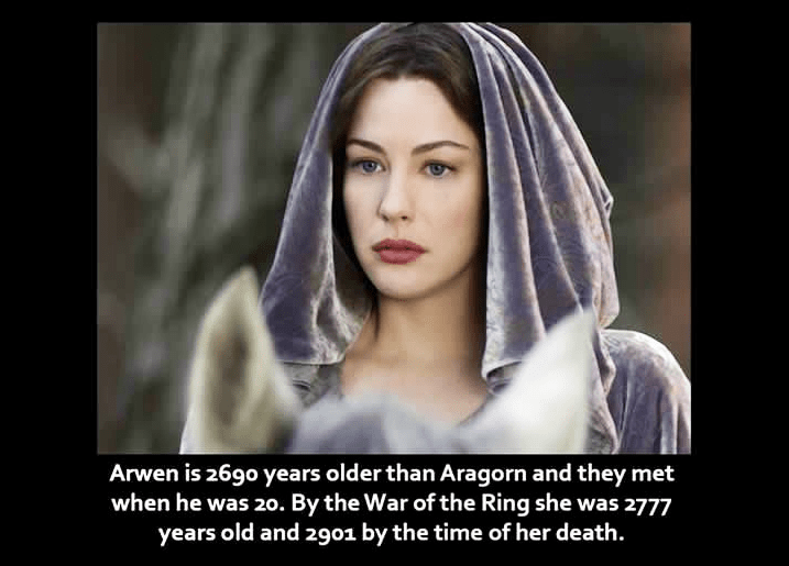 Face - Arwen is 26g0 years older than Aragorn and they met when he was 20. By the War of the Ring she was 2777 years old and 2901 by the time of her death.