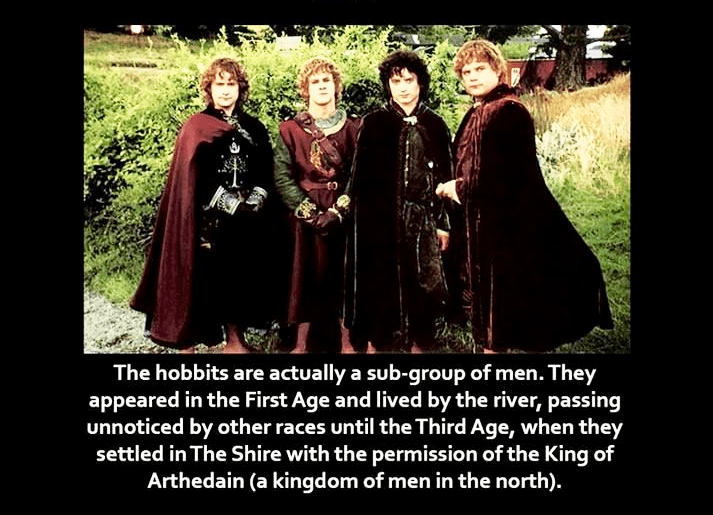 Adaptation - The hobbits are actually a sub-group of men. They appeared in the First Age and lived by the river, passing unnoticed by other races until the Third Age, when they settled in The Shire with the permission of the King of Arthedain (a kingdom of men in the north).
