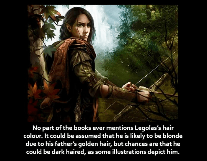 Photo caption - No part of the books ever mentions Legolas's hair colour. It could be assumed that he is likely to be blonde due to his father's golden hair, but chances are that he could be dark haired, as some illustrations depict him.