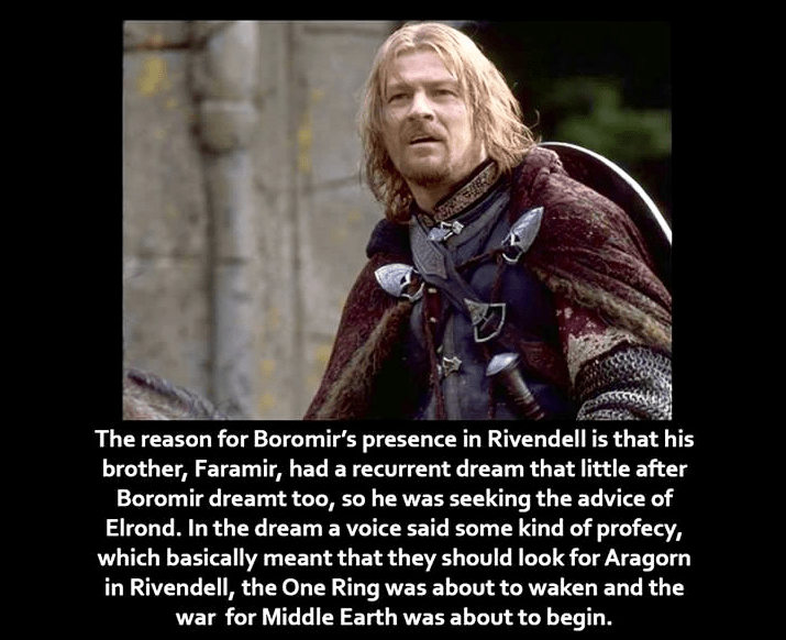 Facial expression - The reason for Boromir's presence in Rivendell is that his brother, Faramir, had a recurrent dream that little after Boromir dreamt too, so he was seeking the advice of Elrond. In the dream a voice said some kind of profecy, which basically meant that they should look for Aragorn in Rivendell, the One Ring was about to waken and the war for Middle Earth was about to begin.