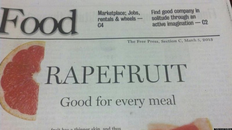 Text - Food Find good company in solitude through an active imagination-C2 Marketplace; Jobs, rentals & wheels C4 The Free Press, Section C, March 5, 2013 RAPEFRUIT Good for every meal fRuit hon n thinner skin and thus TwterJonah Gobe