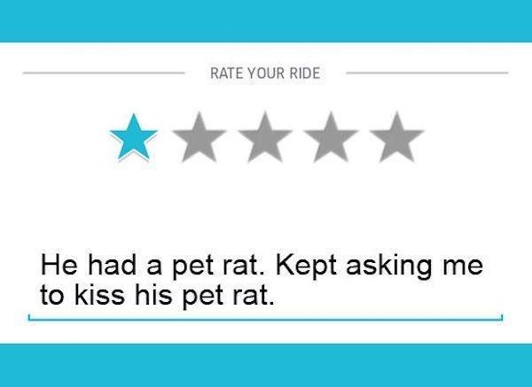 Text - RATE YOUR RIDE He had a pet rat. Kept asking me to kiss his pet rat.