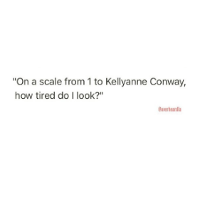 """Text - """"On a scale from 1 to Kellyanne Conway, how tired do I look?"""" d"""