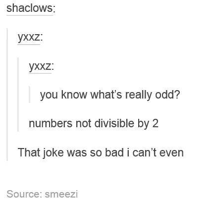 Tumblr thread about what defines odd numbers