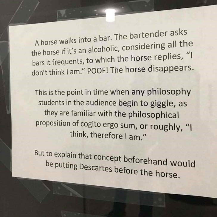 """Text - A horse walks into a bar. The bartender asks the horse if it's an alcoholic, considering all the bars it frequents, to which the horse replies, """"I don't think I am."""" POOF! The horse disappears. This is the point in time when any philosophy students in the audience begin to giggle, as they are familiar with the philosophical proposition of cogito ergo sum, or roughly, """"I think, therefore l am."""" But to explain that concept beforehand would be putting Descartes before the horse."""