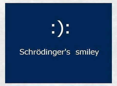 meme about Schrodinger's smiley being both sad and happy at once