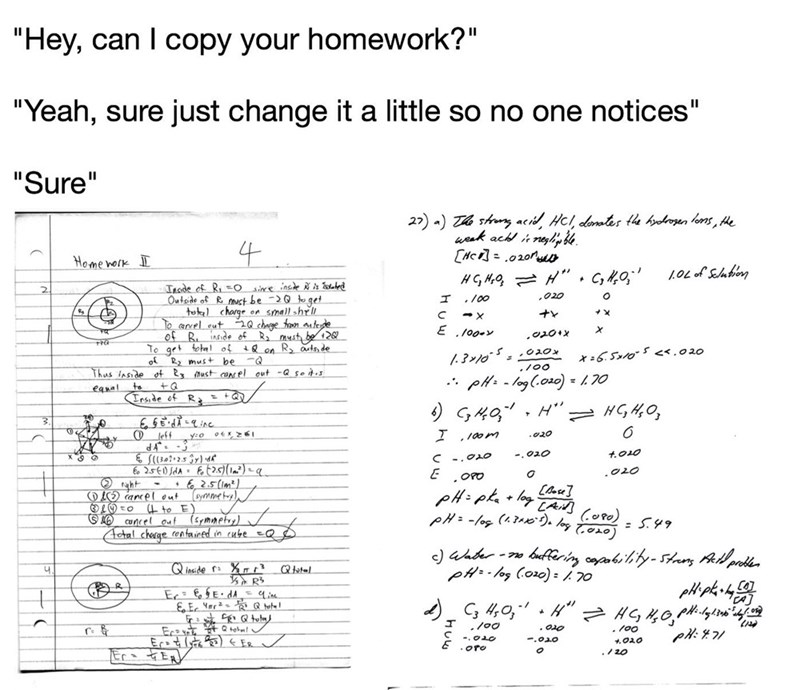 anti meme about copying someone's homework but changing it so it's not obvious