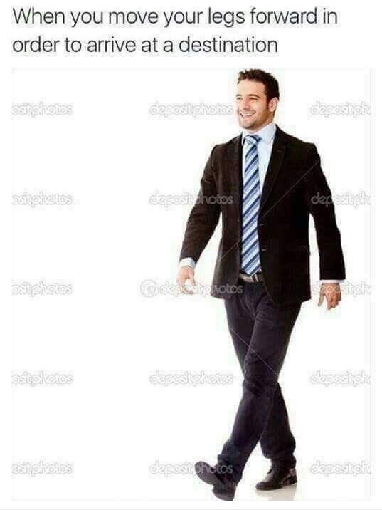 anti meme about walking with stock photo of man walking