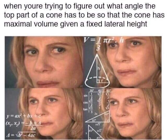 anti meme about confused math lady calculating the formulas seen around her head