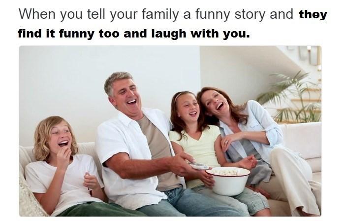 anti meme about telling your family a joke