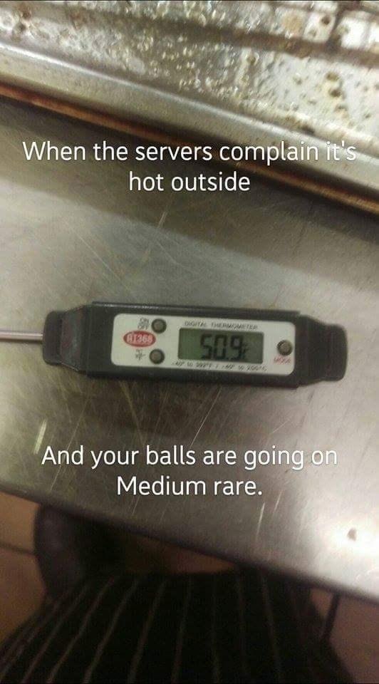 work meme - Technology - When the servers complain it's hot outside oGITA EROMETER Ar368 509 And your balls are going on Medium rare.