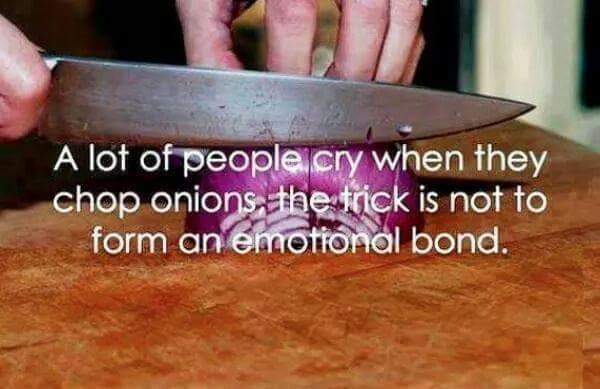 work meme - Hand - A lot of people.cry when they chop onionsthe tick is not to form an emotfonal bond.