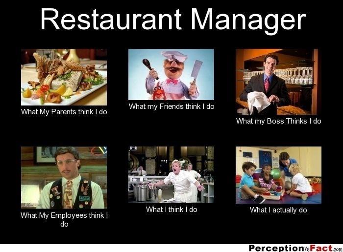 work meme - Photo caption - Restaurant Manager What my Friends think I do What My Parents think I do What my Boss Thinks I do stt ADAM What I think I do What I actually do What My Employees think I do PerceptionveFact.com
