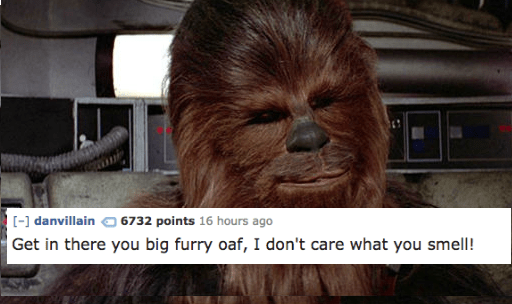 Chewbacca - [-] danvillain 6732 points 16 hours ago Get in there you big furry oaf, I don't care what you smell!